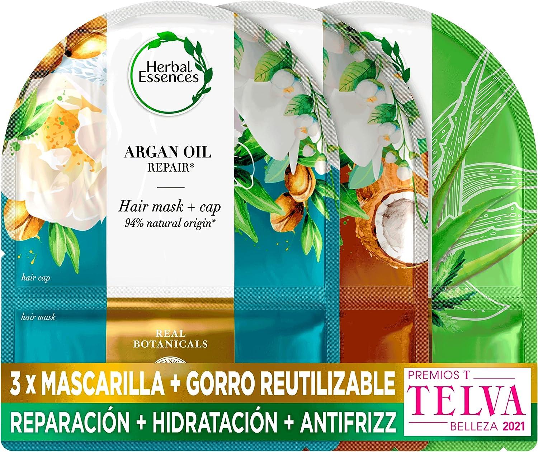 Herbal Essences Pack Mascarilla Capilar + Gorro De Ducha Reutilizable + Mascarilla Reparación Aceite de Argán + Mascarilla Hidratación Leche de Coco + Mascarilla Suavidad Aloe & Hemp
