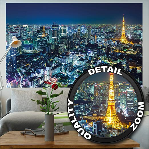 Large Tokyo City Blue Night Lights Canvas Wall Art Pictures For Home Interiors
