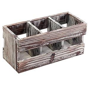 3-Compartment Torched Wood Desktop Office Supplies Caddy Desk Organizer Storage Holder