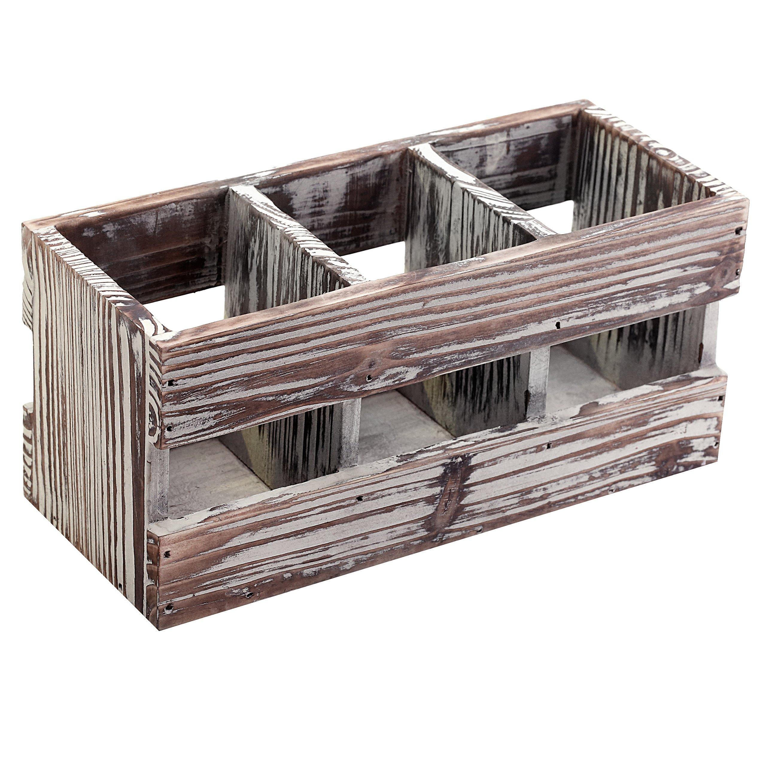 3 Compartment Torched Wood Desktop Office Supplies Caddy Desk Organizer Storage Holder