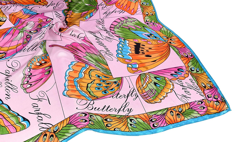 Bees Knees Fashion Sciarpa Quadrata In Seta Fine Rosa A Farfalla
