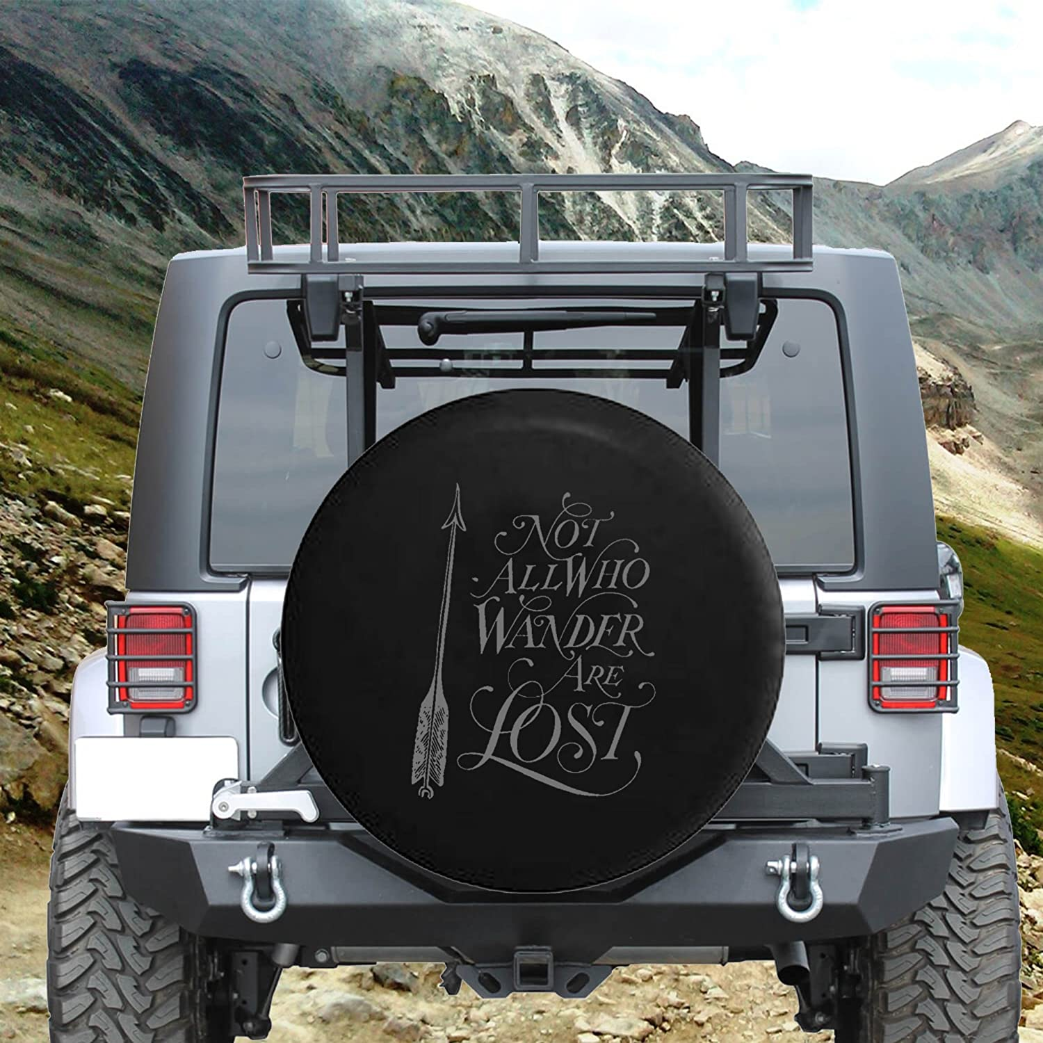 Not All Who Wander are Lost Arrow Art Spare Tire Cover fits SUV Camper RV Accessories White Ink 29 in