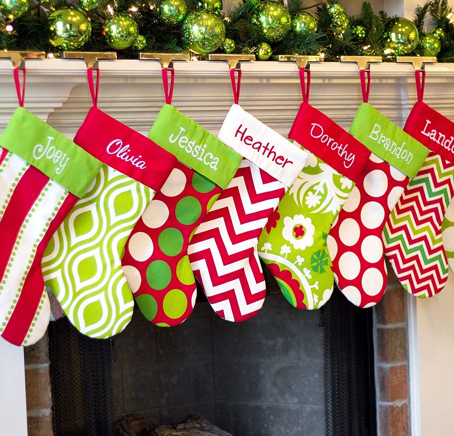 Red Personalized Christmas Stocking White /& Green Patterns 18 Styles Lime