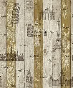 ورق حائط مزين ببرج إيفل وأجمل آثار العالم مقاس 15.5&1.06متر موديل 70082