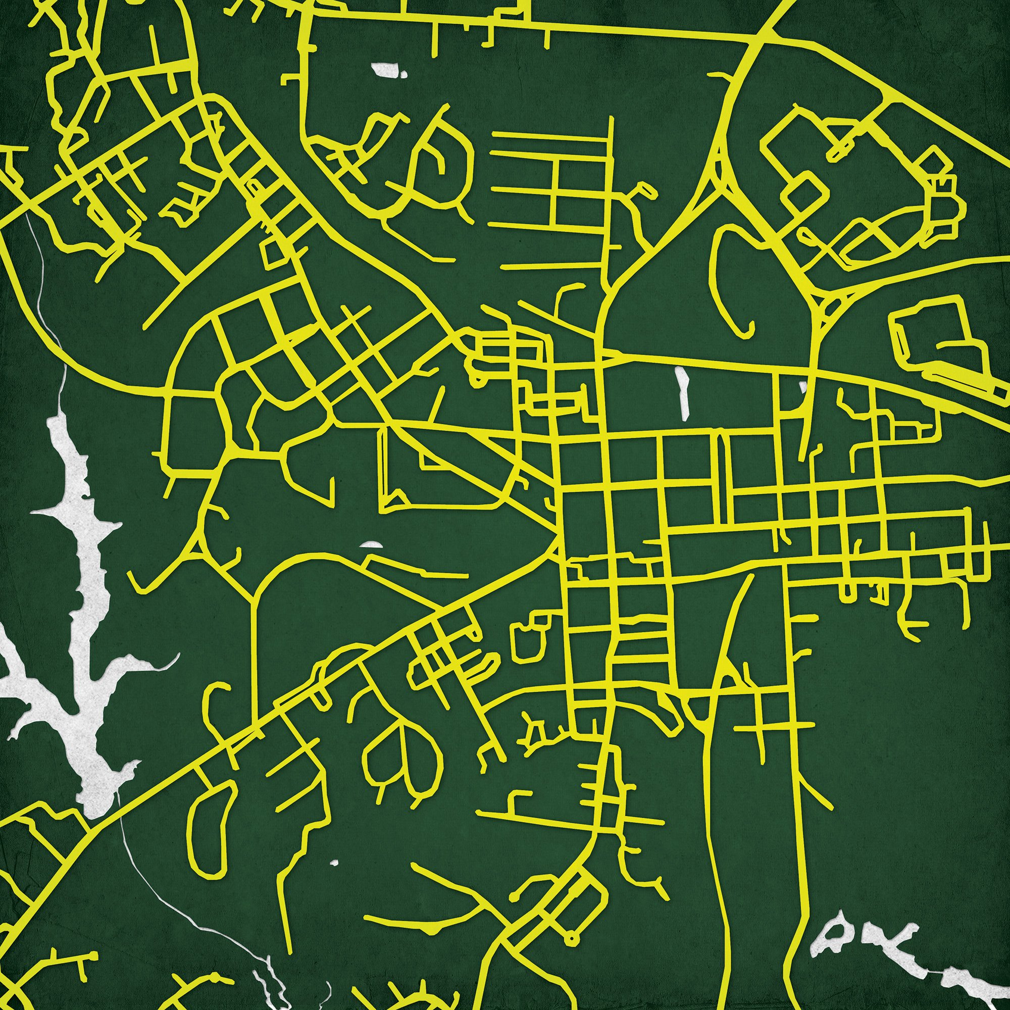 William & Mary (The College of) Campus Map Art, 24'' Wood Art Panel