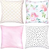 Woven Nook Decorative Throw Pillow COVERS ONLY For Couch, Sofa, or Bed Set Of 4 18 x 18 inch Modern Quality Design 100% Cotton Floral Polkadot Gold Metallic Pink Adelaide Set by