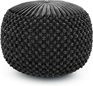 SIMPLIHOME Renee Round Pouf, Footstool, Upholstered in Slate Grey Velvet, for the Living Room, Bedroom and Kids Room, Transitional, Modern