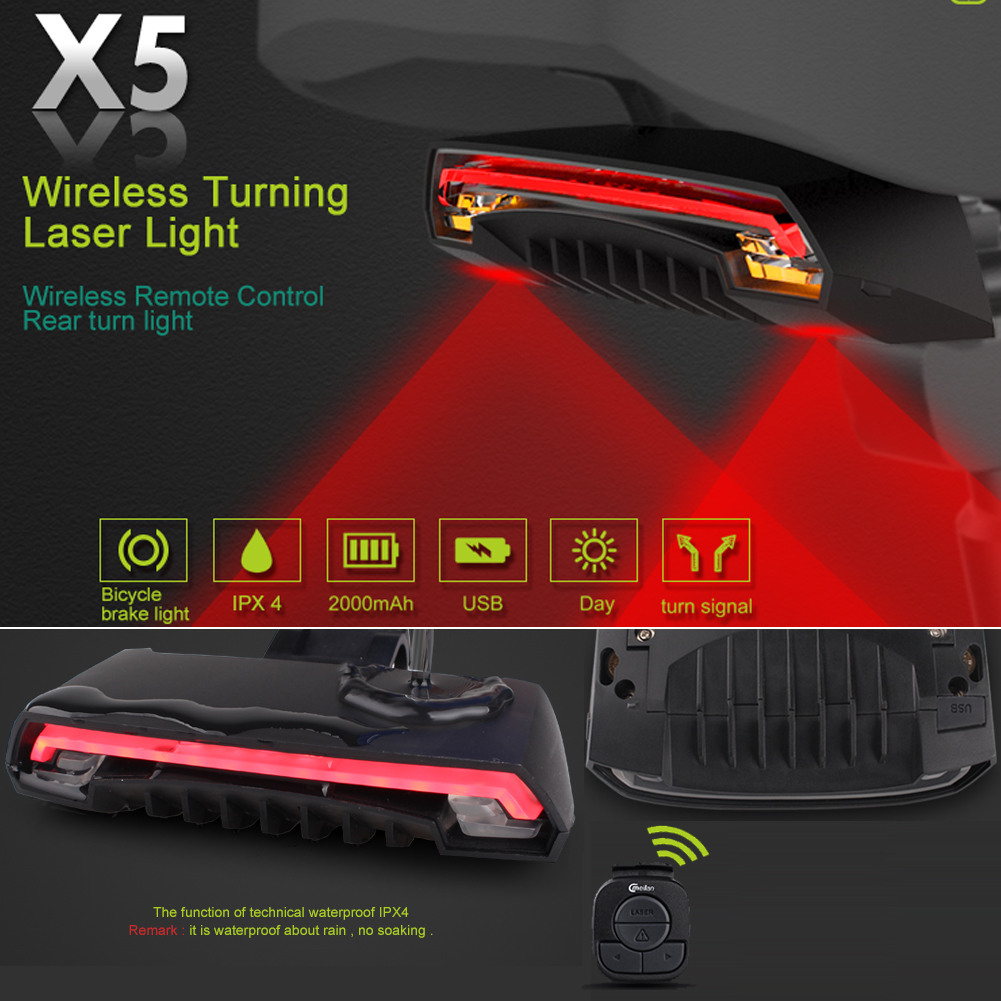 16531ae5a21 MEILAN X5 Wireless Remote Control Smart Bike TailLight Rear Light Automatic  Brake Light with Turn Signal Light USB Rechargeable Safety Flashing light  Fits ...