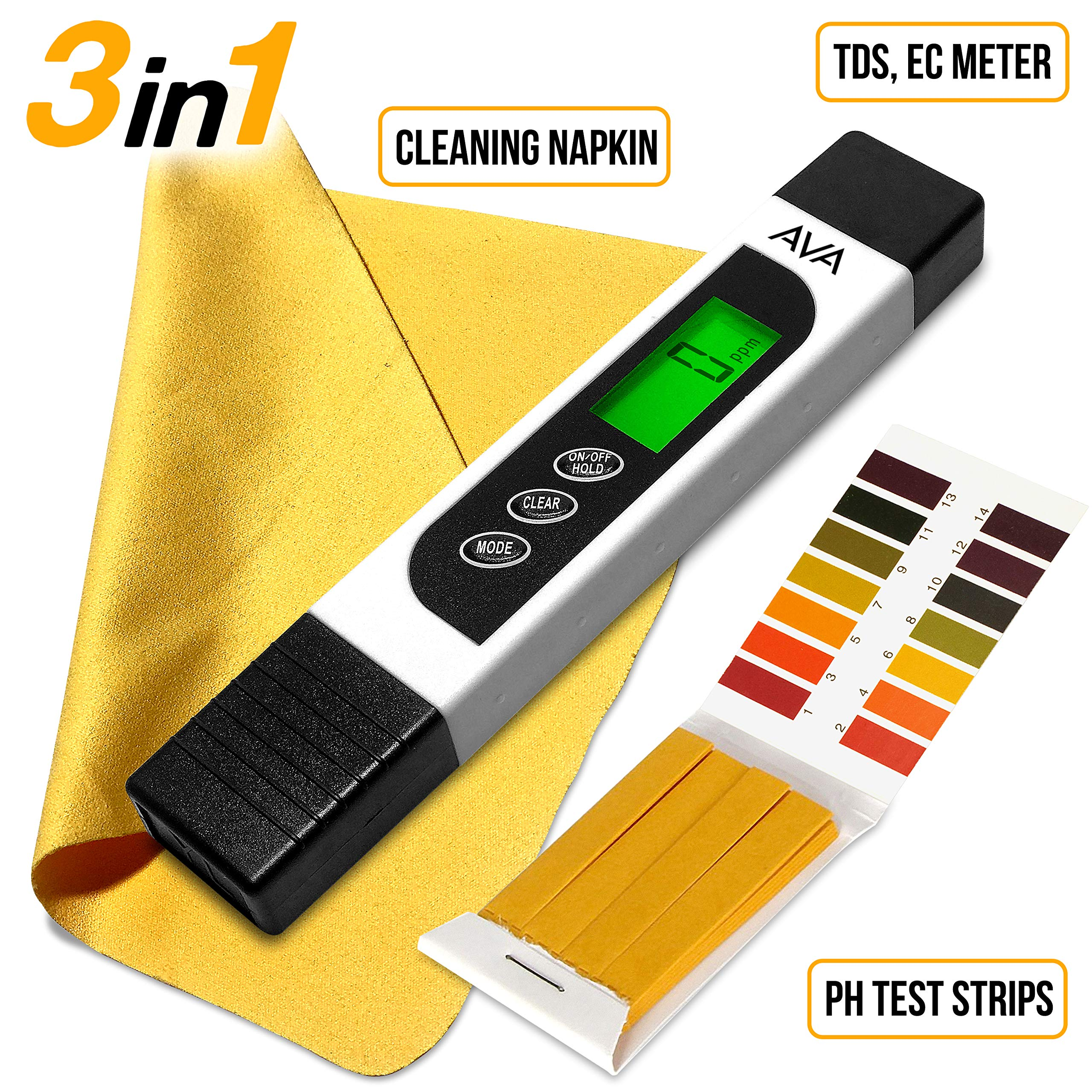 6 in 1 Water Quality Tester for Drinking Water - TDS EC & Temperature Meter - 0-9990 ppm - Ideal Water Testing Kit for Aquariums Hydroponics and More - PH Test Strips & Cleaning Napkin. by AVA