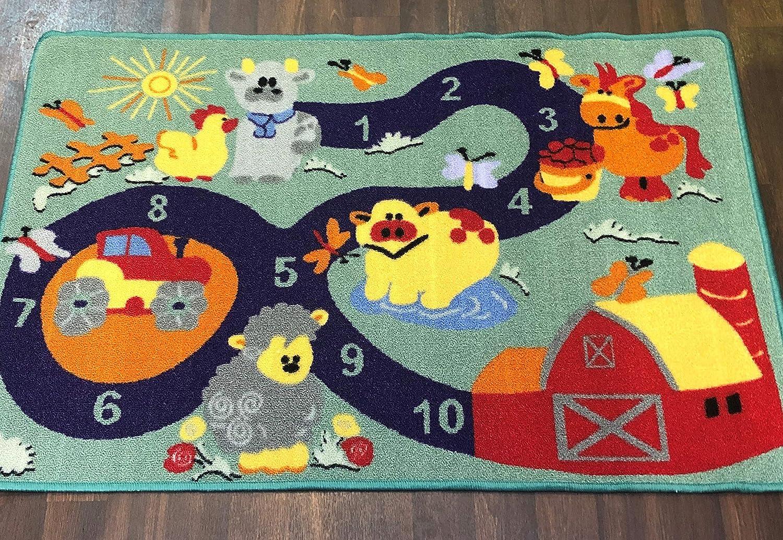 Non Slip Kids Pink Hop Scotch Playmat//Rug 80cm x 120cm