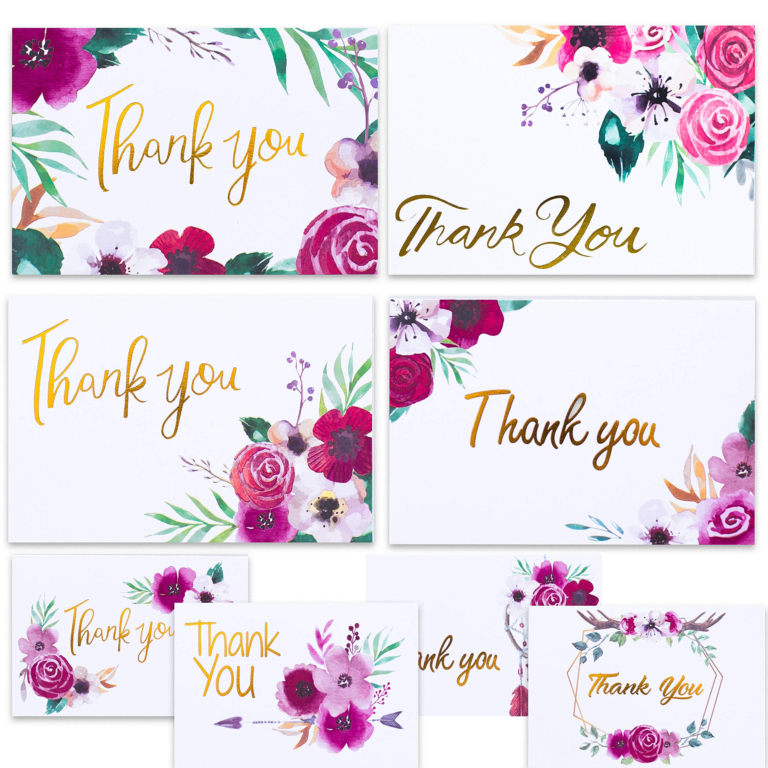 Nest Designs Boho Floral Thank You Cards for Designer Thank You Notes! Bulk Set of 48 Blank Cards with Envelopes for Baby Shower Note Cards, Wedding Thank You Cards and Bridal Shower Thankyou Card