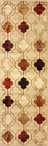 Superior Modern Viking Collection Area Rug, 10mm Pile Height with Jute Backing, Chic Textured Geometric Trellis Pattern, Anti-Static, Water-Repellent Rugs – Beige, 2 7 x 8 Runner