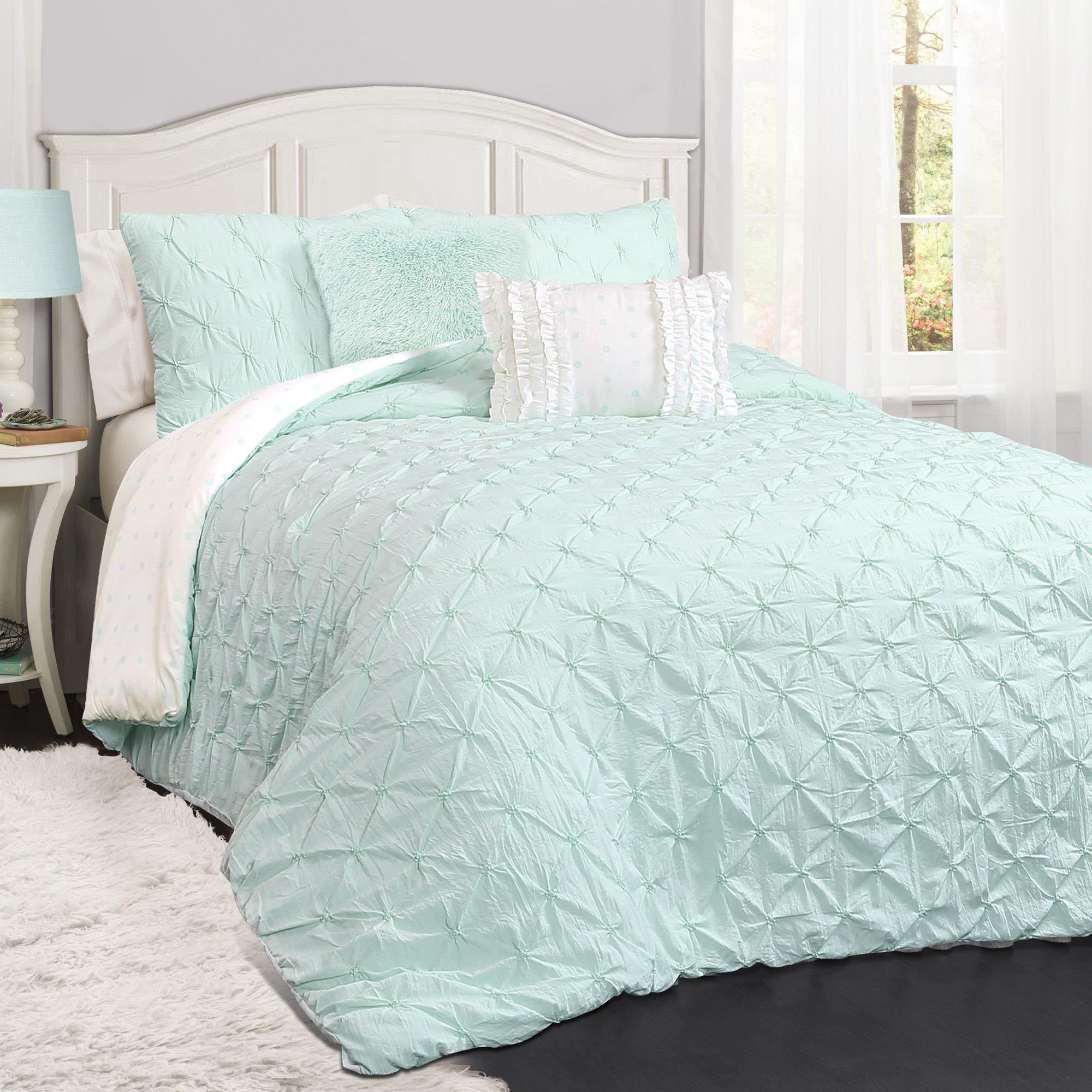 Lush Decor Lush Décor Ravello Pintuck 4 Piece Comforter Set, Twin, Light Aqua by Lush Decor