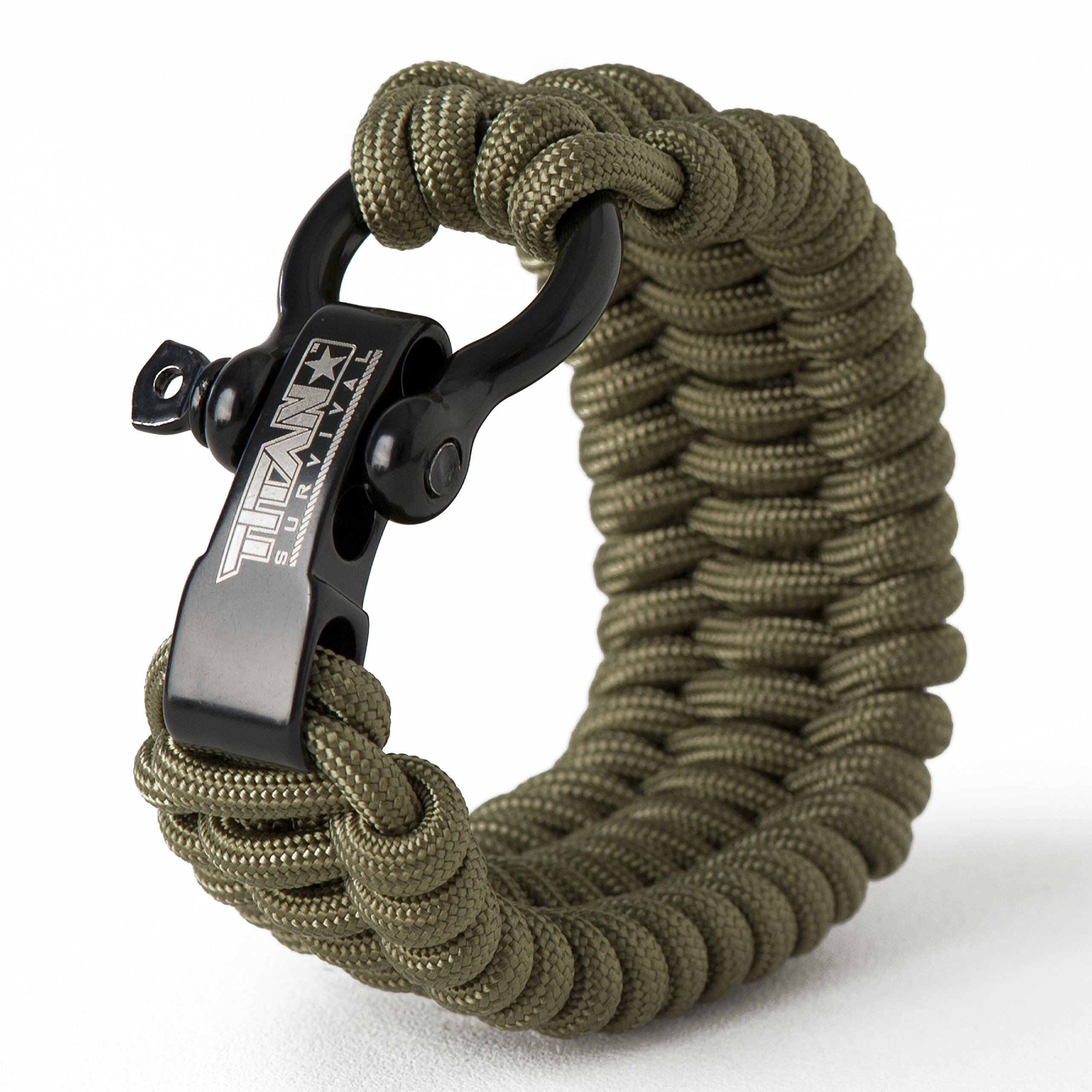 Titan Paracord Survival Bracelet | Olive DRAB | Large (Fits 8'' - 9'' Wrist) | Made with Authentic Patented SurvivorCord (550 Paracord, Fishing line, Snare Wire, and Waxed Jute for Fires).
