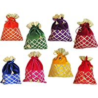 muccasacra Women's Criss Cross Gota Patti Velvet Multicolour Shagun Pouch Potli -Pack of 8