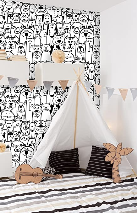 Removable Nursery Wallpaper Peel Stick Dogs And Cats 28w