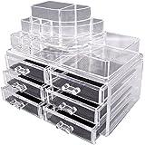 readaeer make up organizer mit 12 verstellbare ebenen multifunktionale aufbewahrungsbox braun. Black Bedroom Furniture Sets. Home Design Ideas