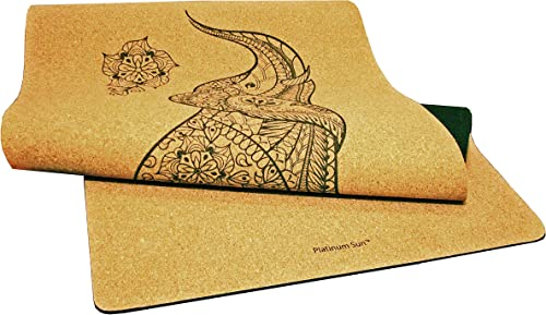 Platinum Sun Luxury Cork Yoga Mat – Non Slip Soft Natural Eco-Friendly Thick Long Wide Mats for Hot Yoga 73 x 25 x 5mm