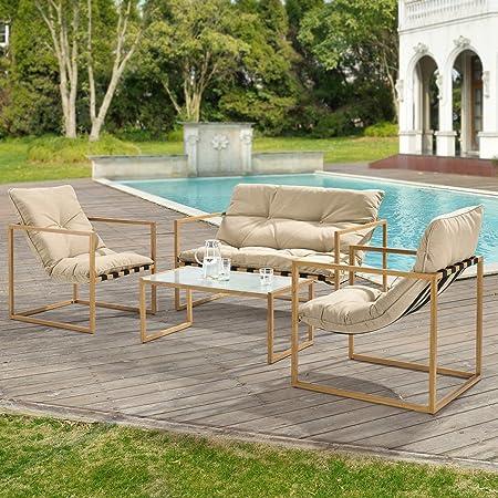 casa.pro] Set de Muebles de jardín 4-Piezas Conjunto de Muebles de Exterior Sillón Sofá Mesa de Centro Caqui marrón y Imitación de Madera: Amazon.es: Hogar