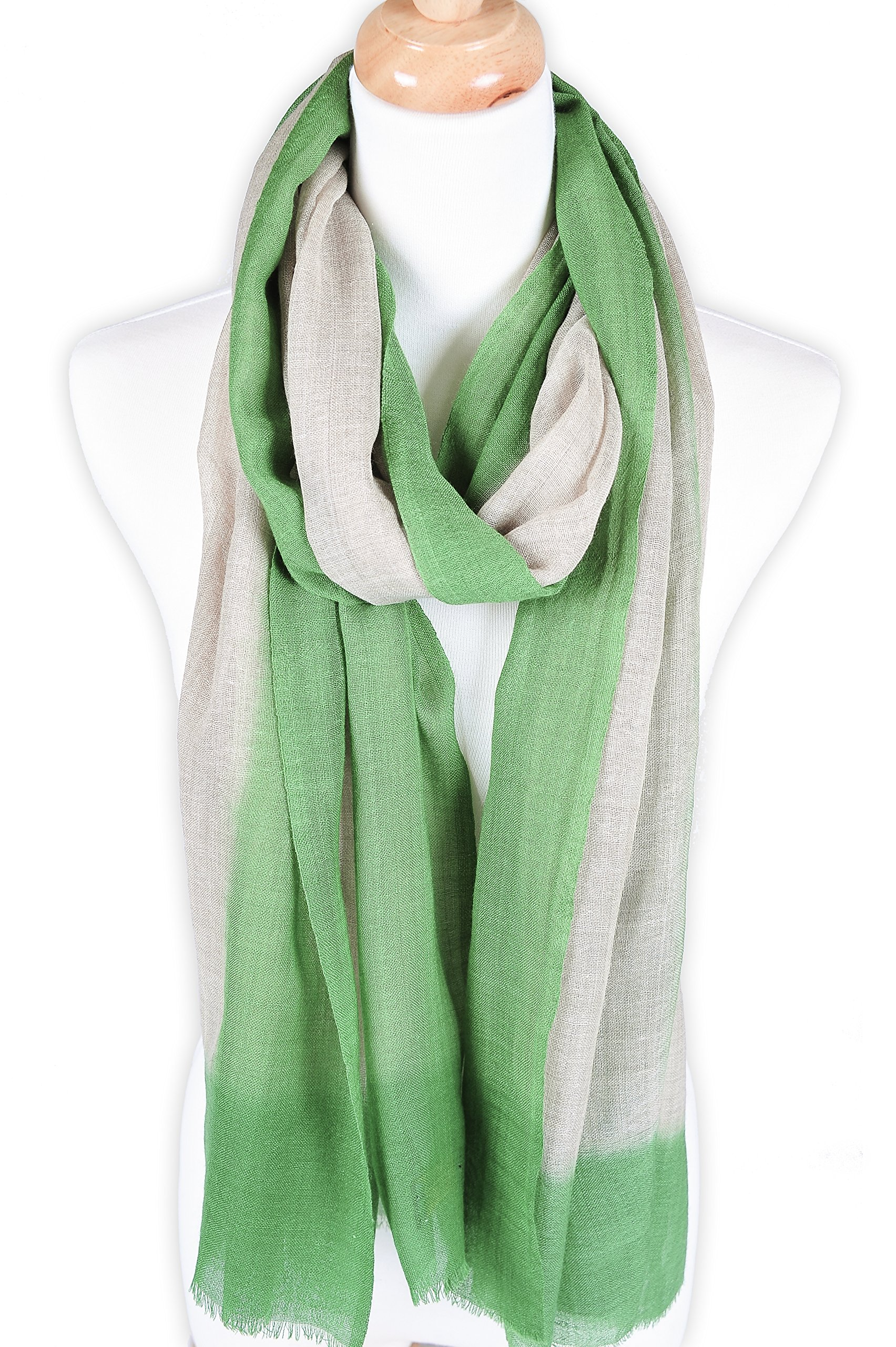 Zentopia cashmere blend handmade hand dye scarf ink style ultra light weight (Green)