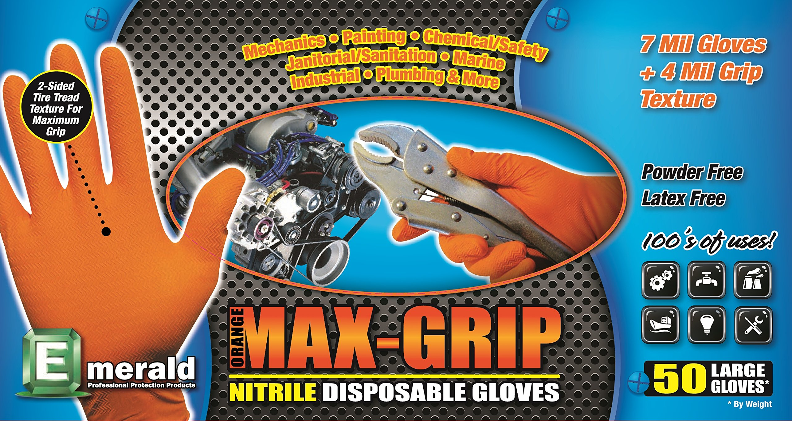 Emerald 03999 Orange MAX-Grip Powder Free Nitrile Glove 7 Mil Disposable with Beaded Cuff. 50 Glovesper Box, 10 Boxes, Total 500 Gloves Size Medium, by Emerald
