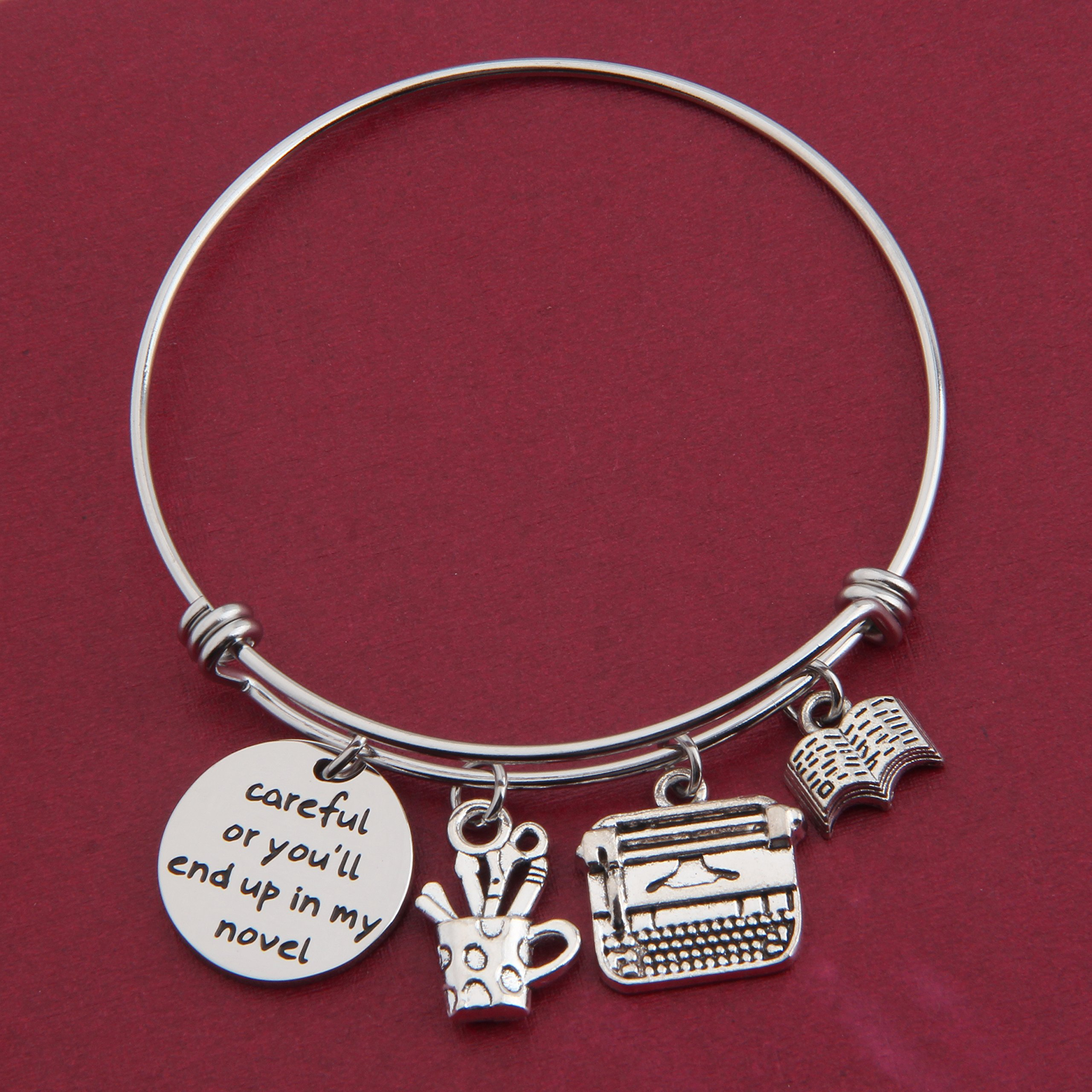 Gzrlyf Writer Bracelet Author Bracelet Writer Gift Novelist Gift Careful Or Youll End Up In My Novel Jewelry Writing Gift Author Jewelry (Writer bracelet) by Gzrlyf (Image #3)