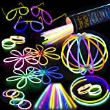"""Glow Sticks Bulk Party Supplies Pack - 100-Pc. 8"""" PartySticks Brand Premium Glow In The Dark Light Sticks & Connectors Makes Tons of Glow Necklaces and Glow Bracelets"""