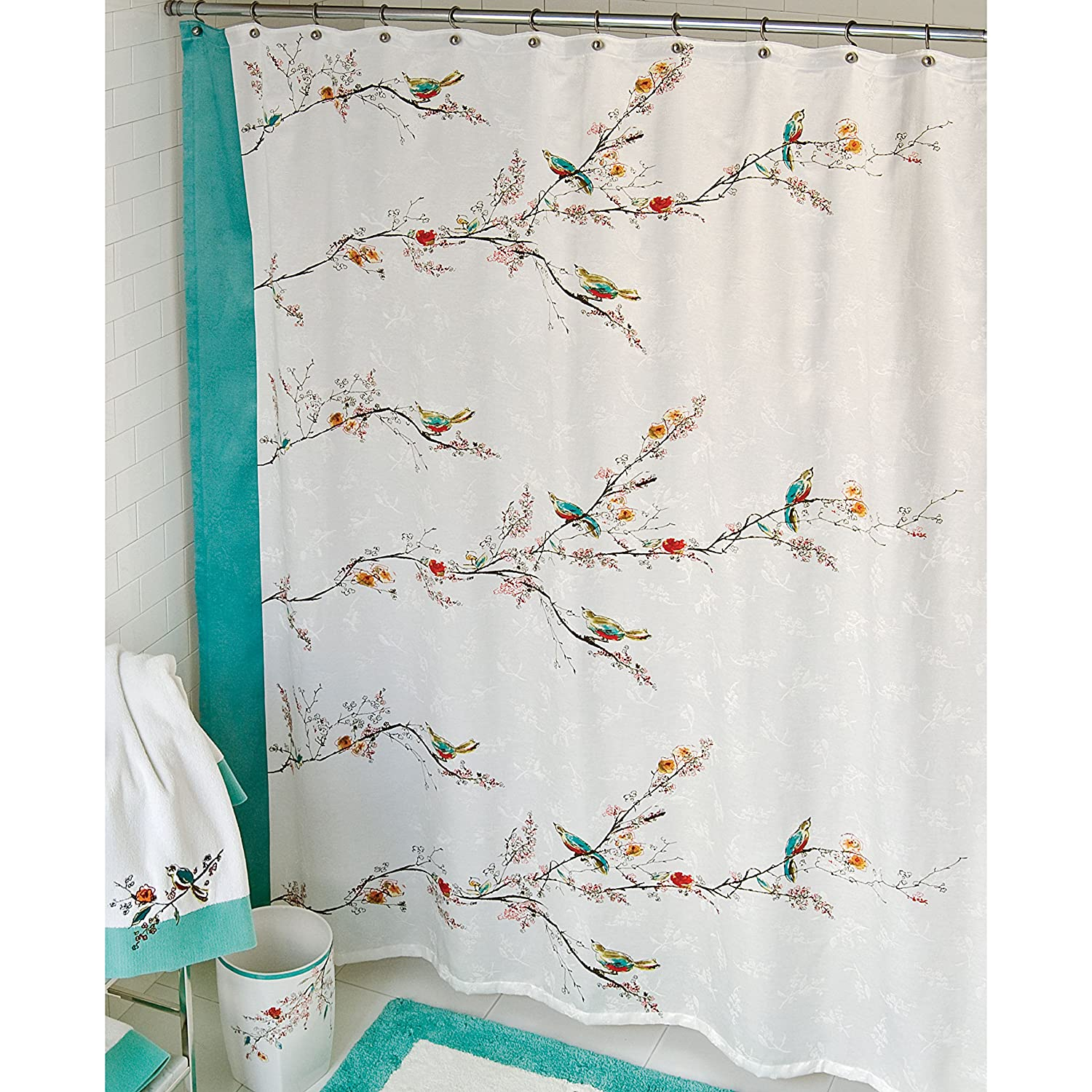 curtains bird with threshold ideas and mens white floral nyc red flower ivory nat bed bath beyond beautiful shower black decor bathroom curtain