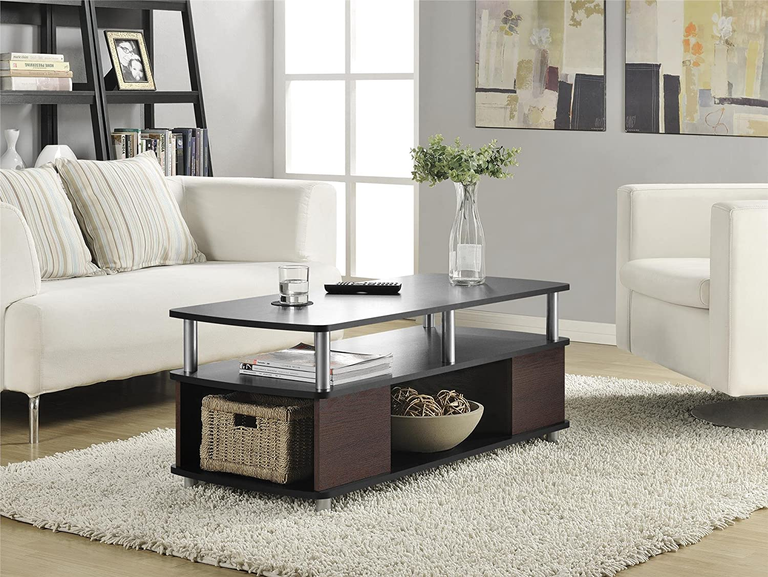 Storage Living Room Amazoncom Altra Carson Coffee Table Cherry Black Kitchen Dining