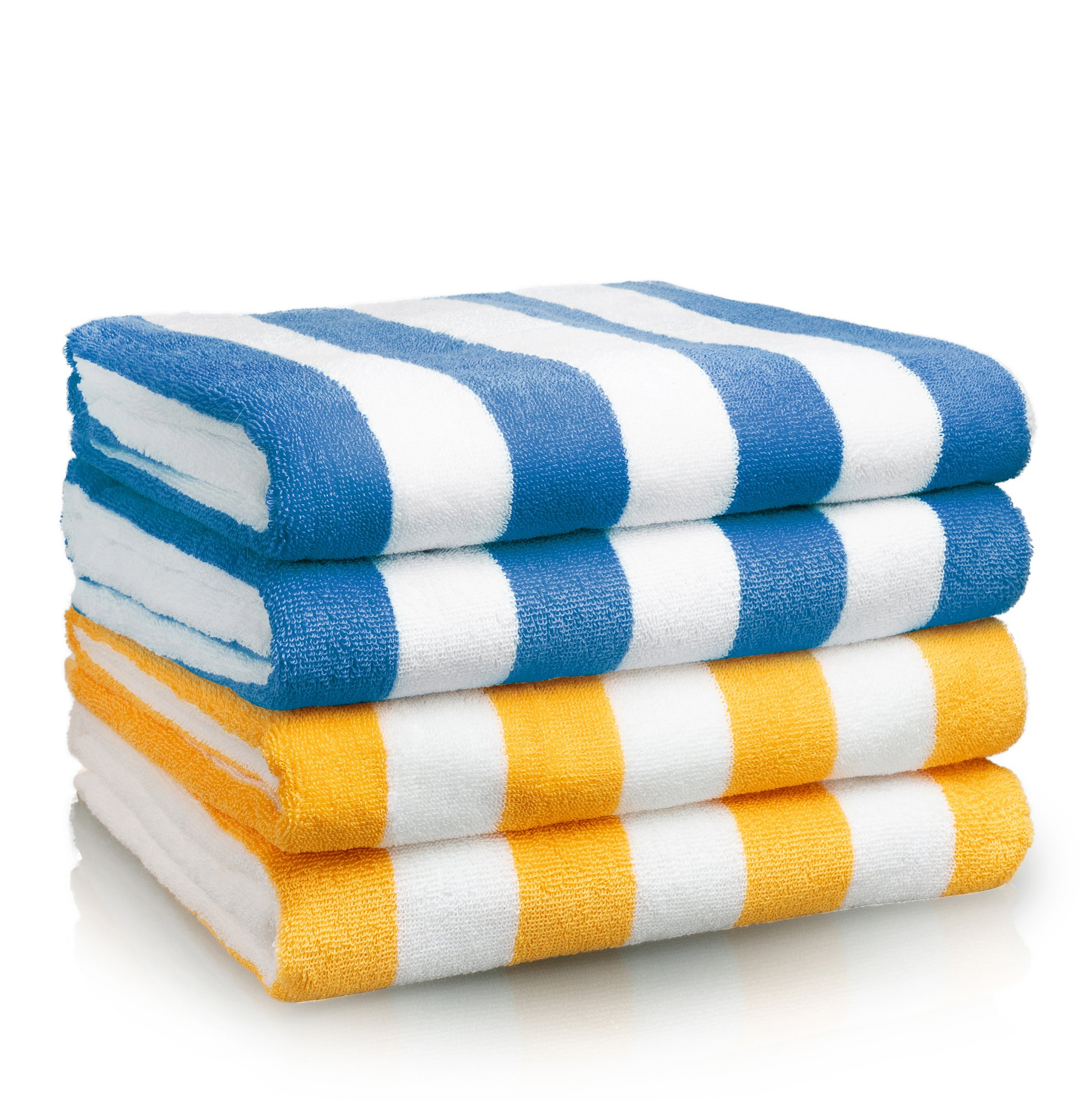 Oversized Beach Towel - Premium Large Beach Towel (30 x 70 Inches) - Cabana Stripe Pool Towels - 100% Cotton XL Towels - Combo Pack 2 Blue and 2 Yellow Towels