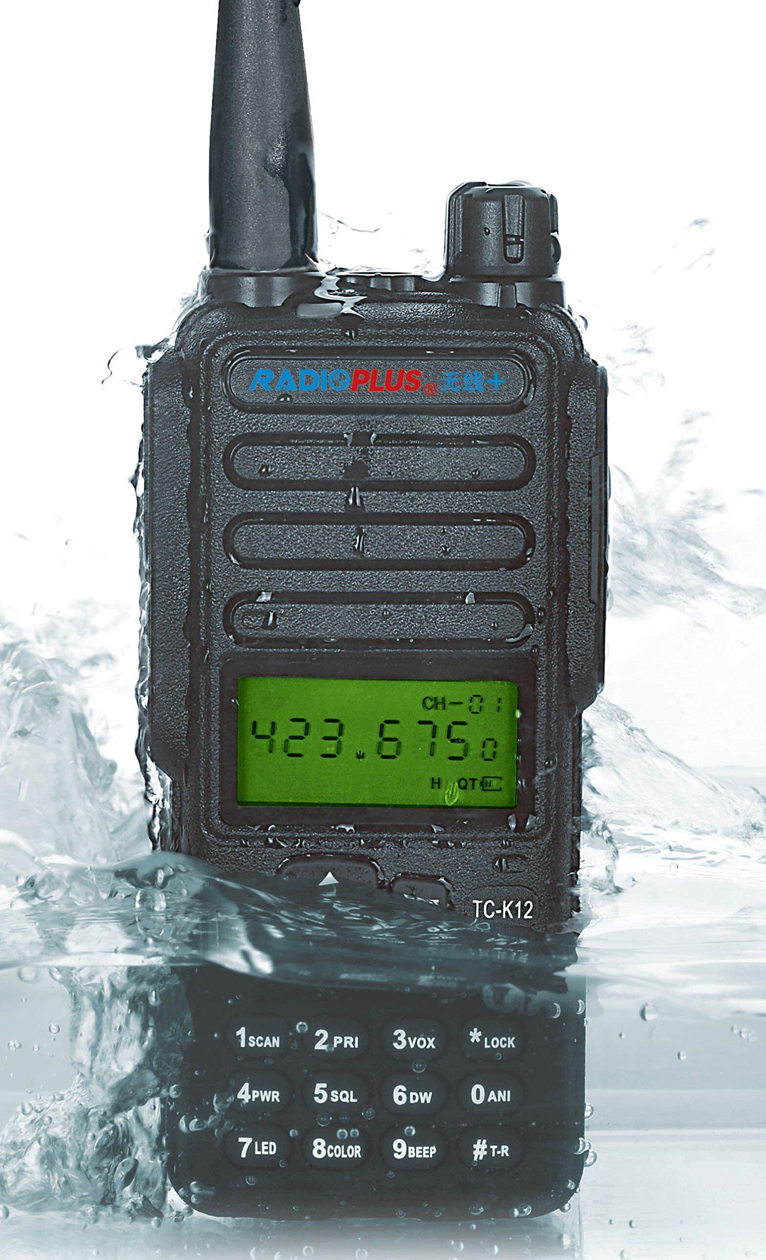 RADIOPLUS TC-K12 136-174MHz VHF Portable Handheld Radio 12W High Power Radio Waterproof with Screen Walkie Talkie + 1pcs Microphone Speaker