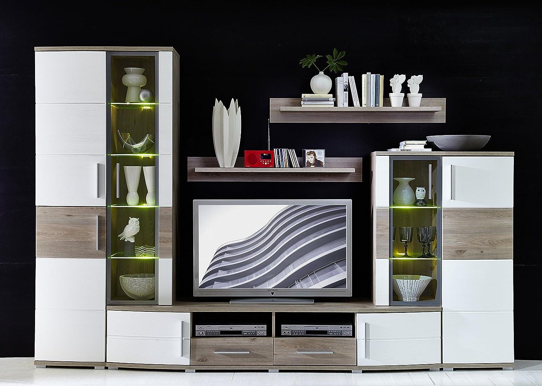 Hochwertige Anbauwand Wohnwand Wohnzimmerschrank Schrankwand Silbereiche Dekor / weiss ca. 296 cm breit