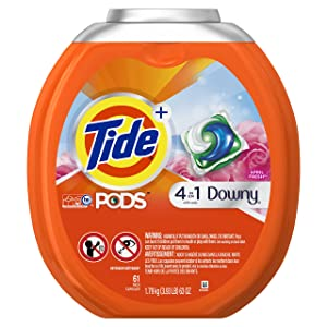 Tide PODS Plus Downy HE Turbo Laundry Detergent Pacs, April Fresh, 61 Count