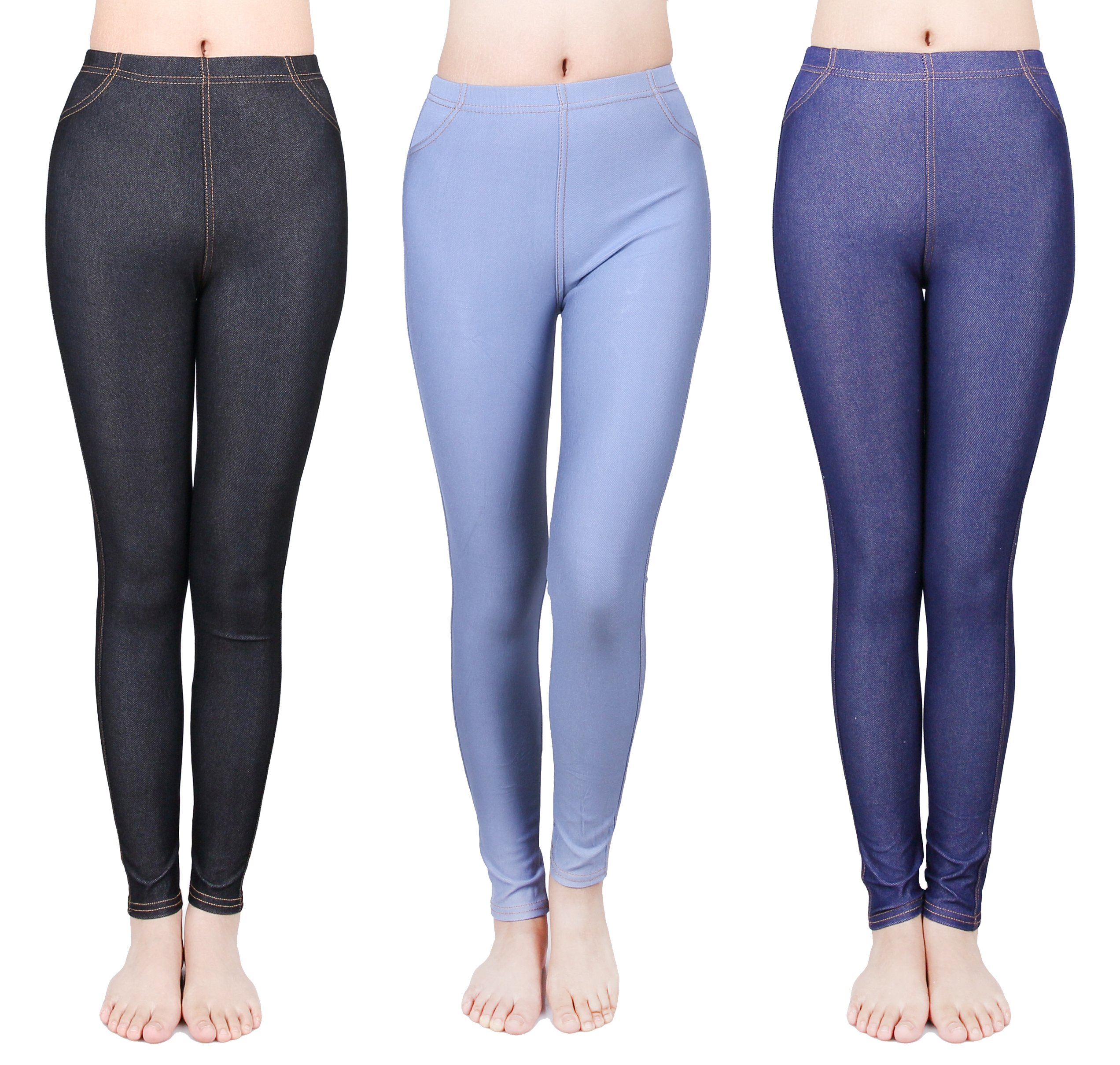 IRELIA 3 Pack Girls Jeggings Flexible Stretchy Jeans Leggings Size 4-12 01 M