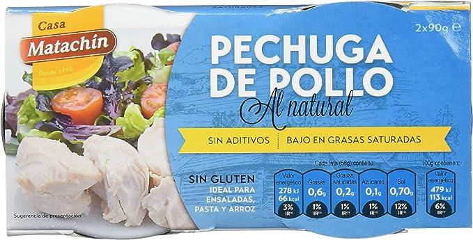 Casa Matachín Conserva Cárnica de Pechuga de Pollo al Natural - Paquete de 16 x 180 gr - Total: 2880 gr