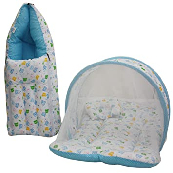 Amardeep Baby Mattress With Mosquito Net Sleeping Bag Combo Blue