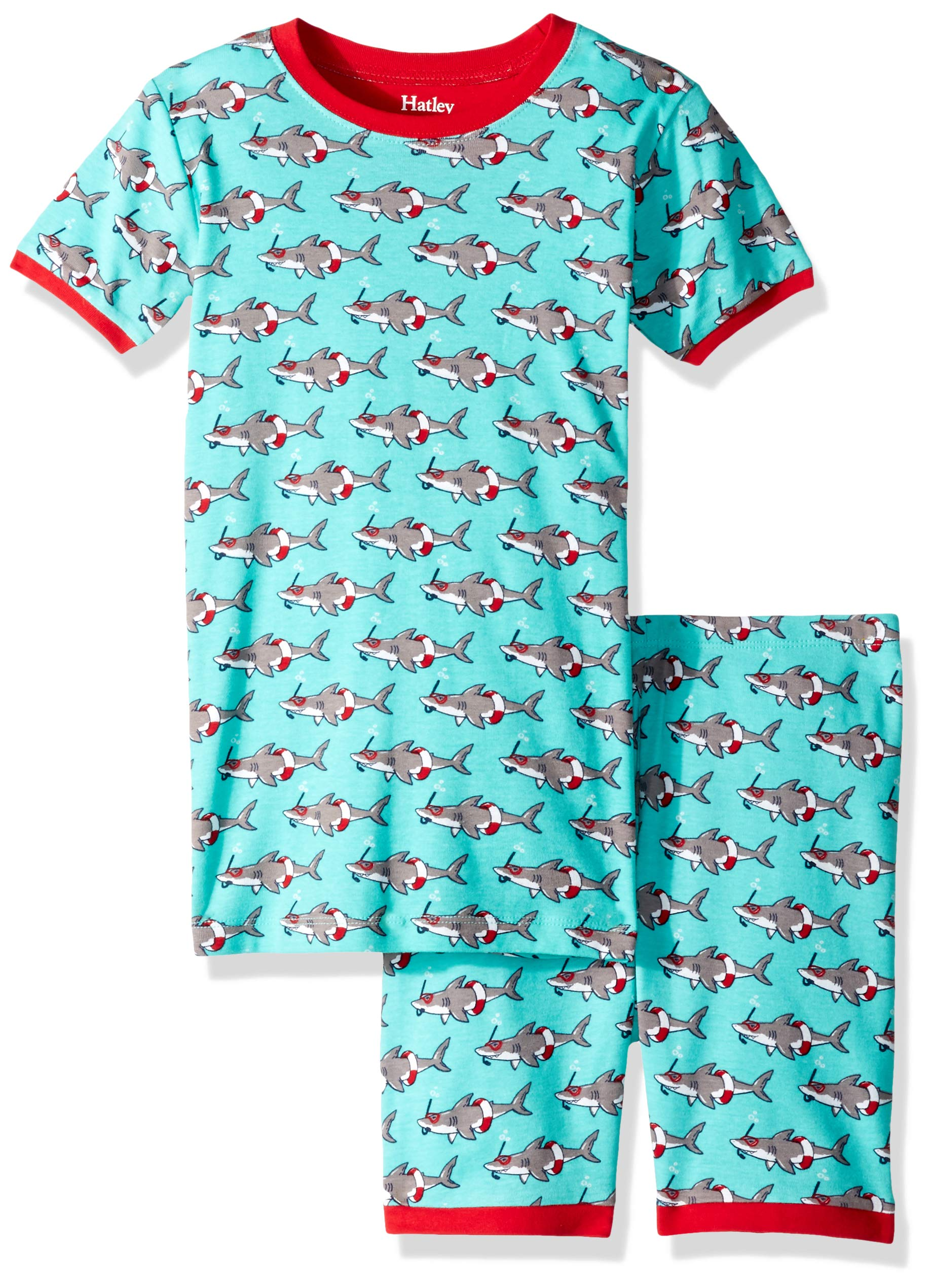 Hatley Boys' Big Organic Cotton Short Sleeve Printed Pajama Set, Jawsome, 8 Years