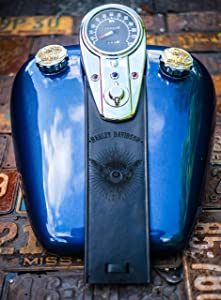 Black Flying Eyeball 3 Light Dash Leather Gas Tank Panel Bib Harley Davidson