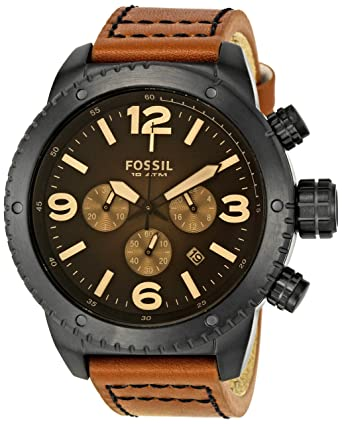 Fossil Mens Sport Quartz Stainless Steel and Leather Casual Watch, Color:Brown