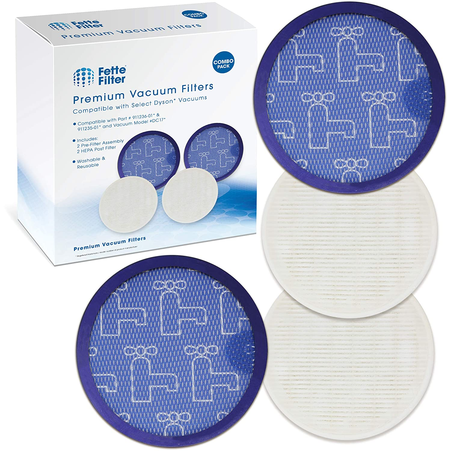 Fette Filter – HEPA Post-Motor Filter & Pre-Filter Compatible with Dyson DC17. Compare to Part # 911236-01 & 911235-01. (2-Pack)