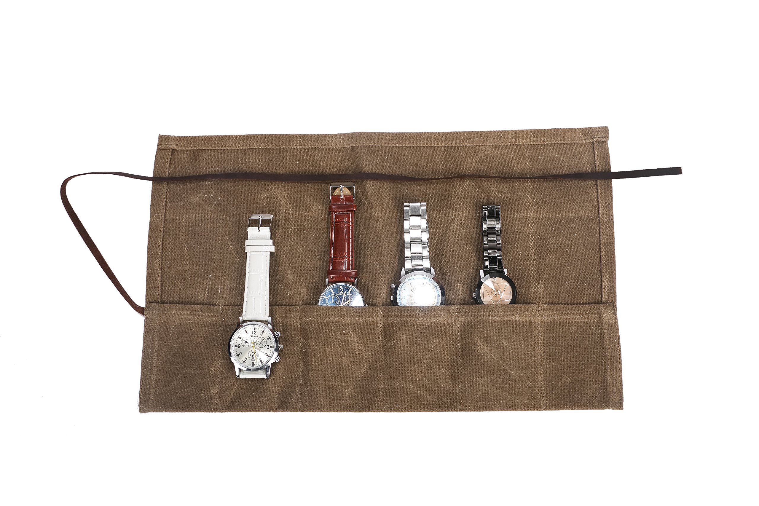 Waxed Canvas Watch Roll Handmade Waterproof Multi-Purpose Travel Case Watch Roll-up Organizer Holds 6 Wristwatches Best Gift for Him Her Boyfriend Girlfriend Mom Dad Wife & Husband HGJ03-I