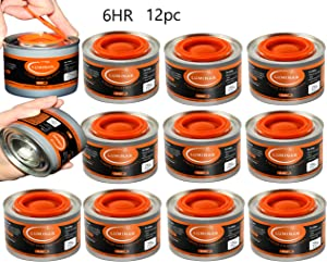 Chafing Dish Fuel Cans - Food Warming Wick Candle Burners for Buffet Dishes (12, 6 HOUR)