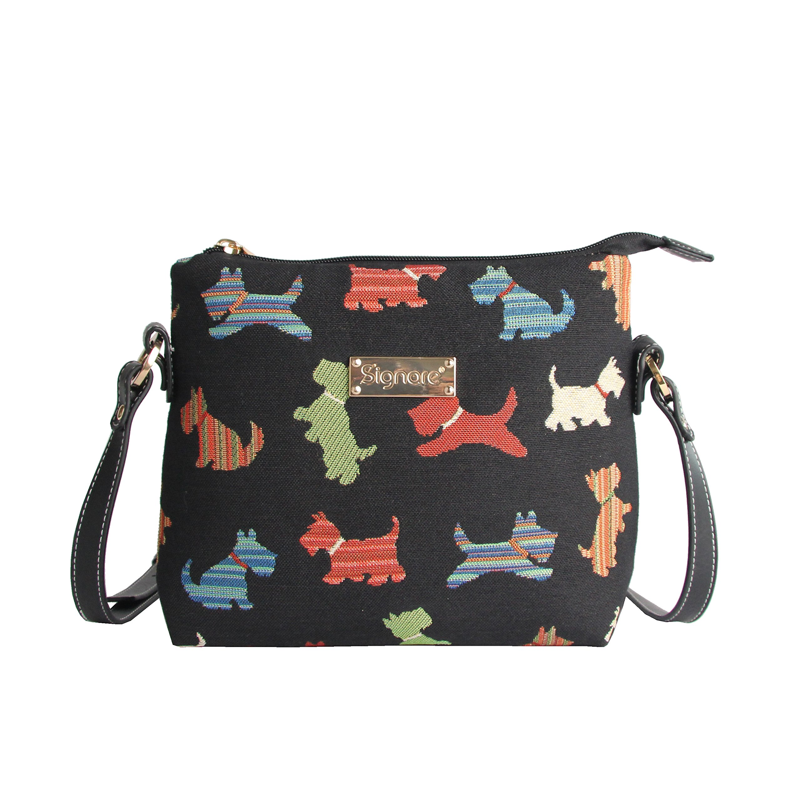 Scottie Dog Women's Fashion Tapestry Mini Satchel Cross-body Purse Bag with Adjustable Strap also as Small Shoulder Bag by Signare in Black (XB02-SCOT)