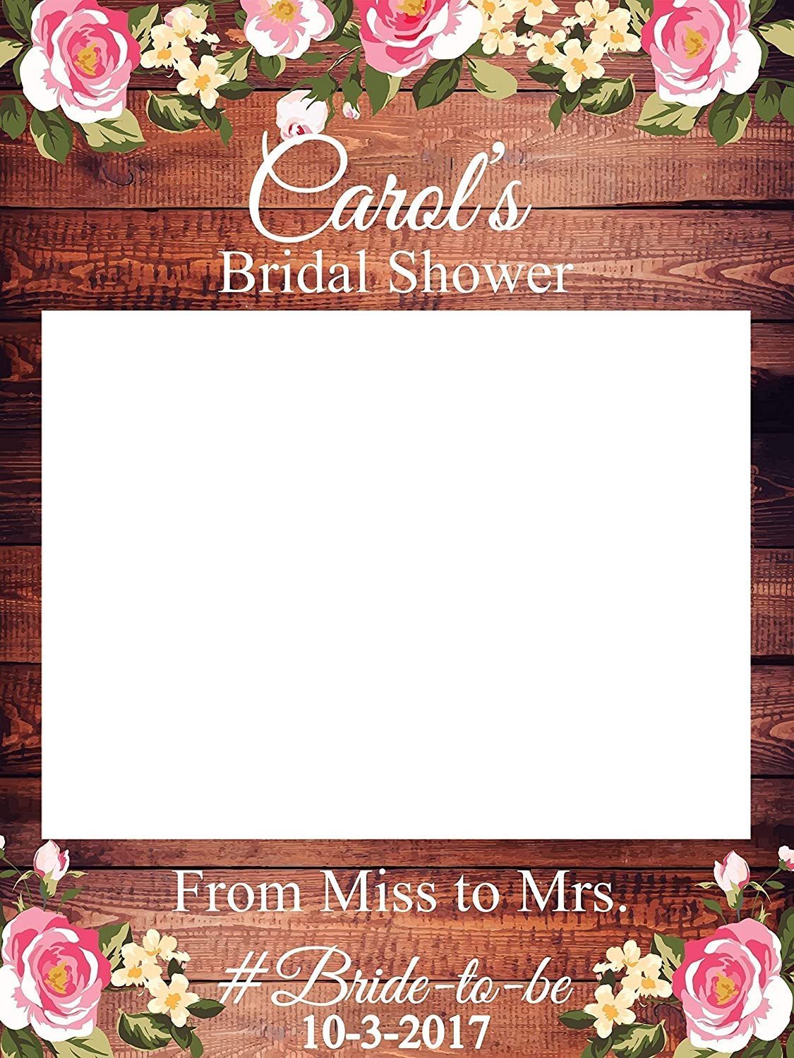 custom floral bridal shower photo booth frame sizes 36x24 48x36 personalized rustic bridal