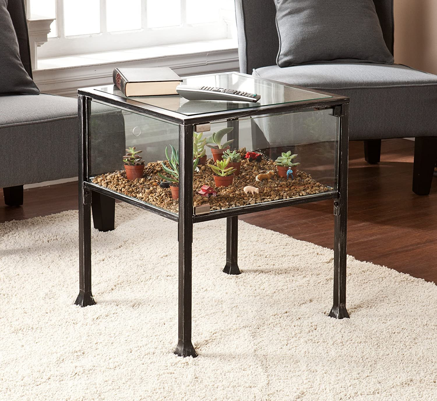 Amazon Terrarium Display End Table with Silver Distressing in