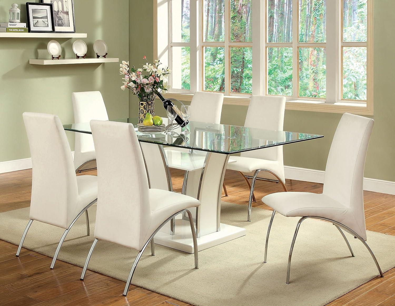 amazon com furniture of america priscilla rectangular tempered