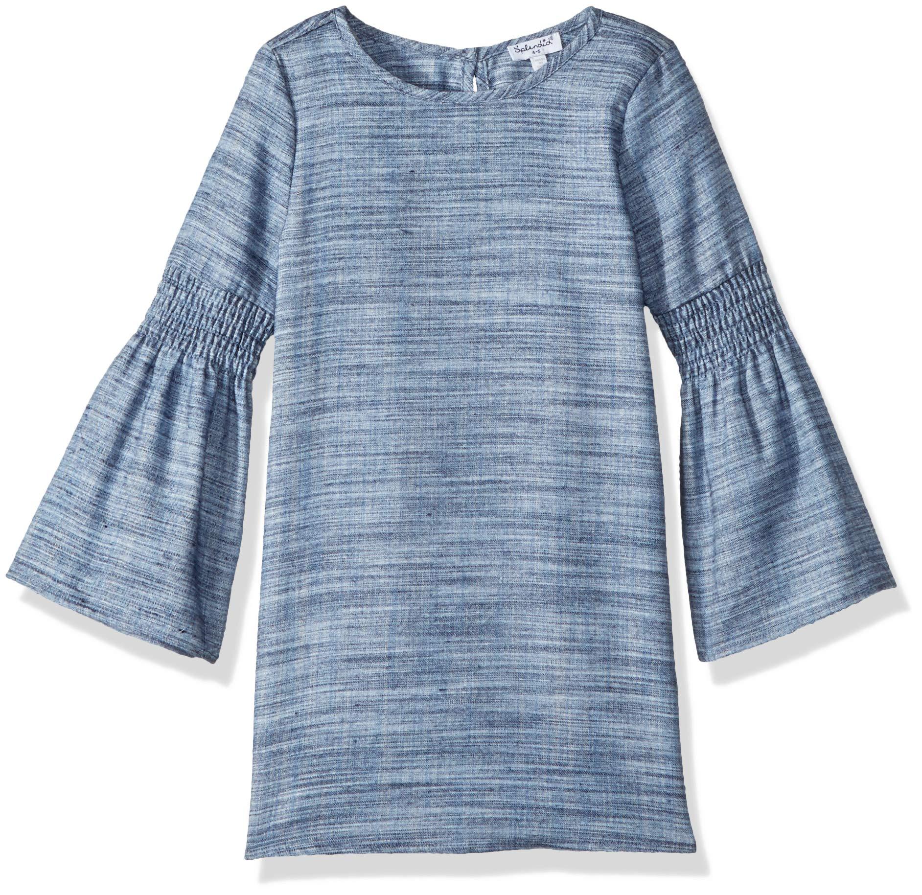 Splendid Little Girls' Bell Sleeves Midi Dress, Denim, 4/5