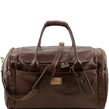 Tuscany Leather - Sac de voyage en cuir avec poche à l'arrière - Marron foncé GIwyk