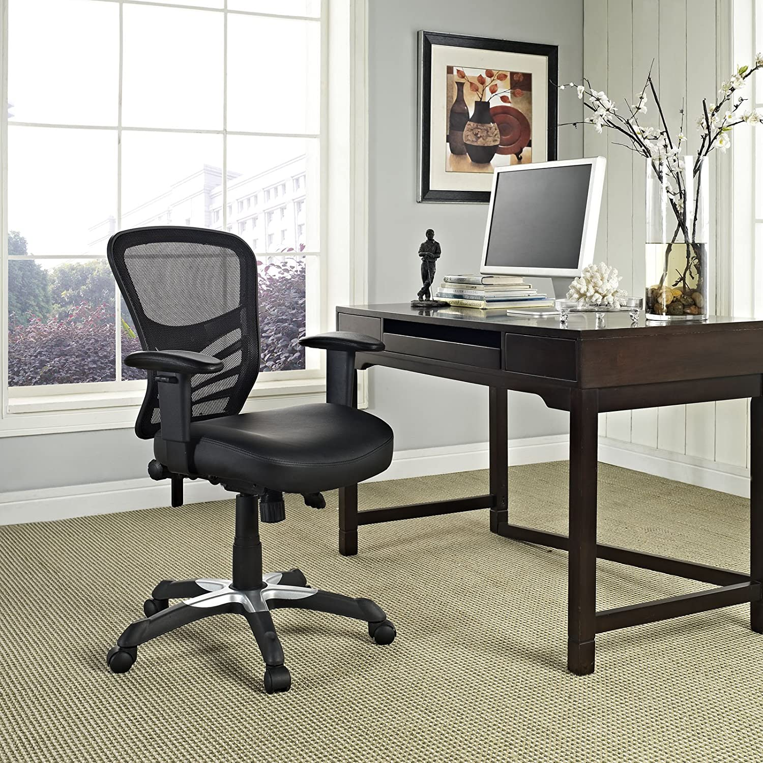 Simply owning an ergonomic chair is not enough if you don t know how - Amazon Com Modway Articulate Mesh Office Chair With Fully Adjustable Black Vinyl Seat Kitchen Dining