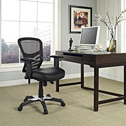 Modway Articulate Mesh Office Chair with Fully Adjustable in Black Faux  Leather Seat